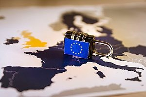 padlock over a map of the EU representing the GDPR laws and regulations