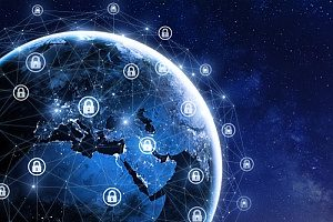 a picture of earth surrounded by locks to protect cybersecurity protections against insider threats