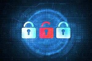 a red opened lock representing a data breach