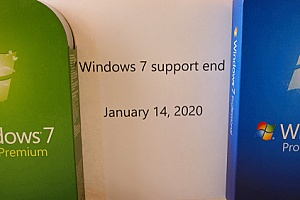 a poster showing that Windows 7 support ends in 2020