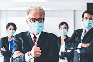 Employee team in masks