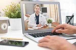 Person in telehealth appointment
