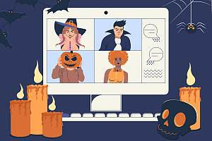 Halloween Zoom call with candles