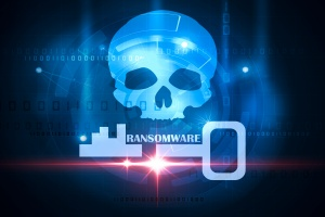 Ransomware alert on a computer with skull