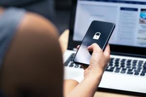 women using her Password Security on phone